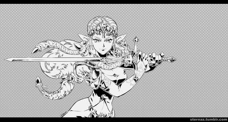 Trinquette Weekly Challenge - Zelda - Lineart by sterna
