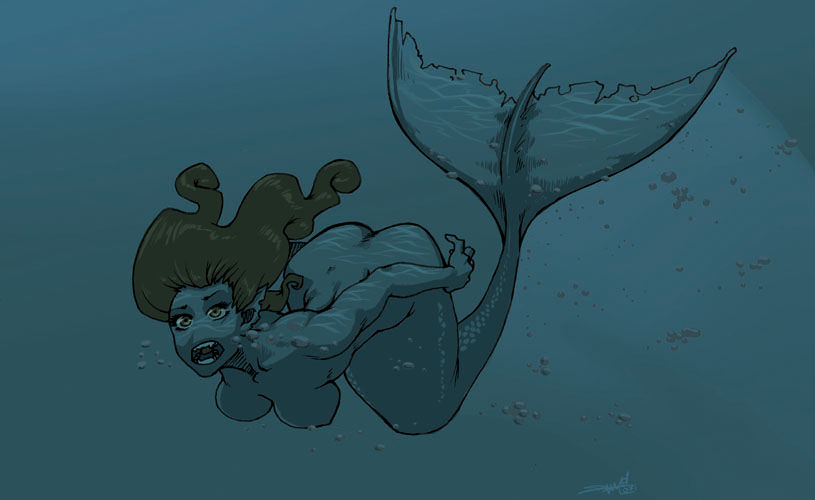 how to draw a mermaid swimming