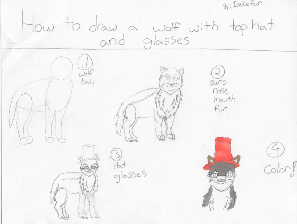 How To Draw A Wolf With Hat And Glasses By Brambleice