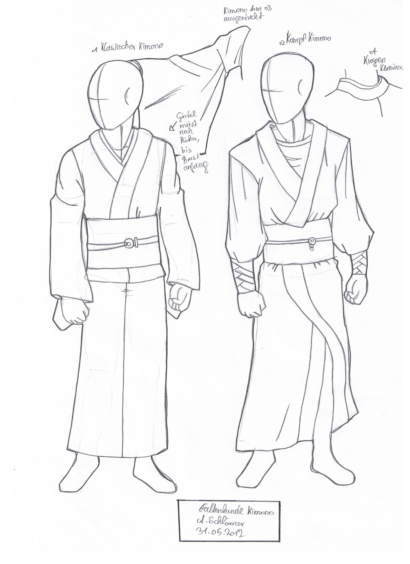 Как рисовать кимоно мужское