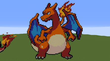 [Minecraft] Charizard Pixel Art by PikachuGamingMC