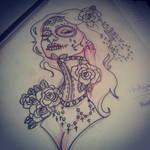 Neck corset sugar skull girl Twisted