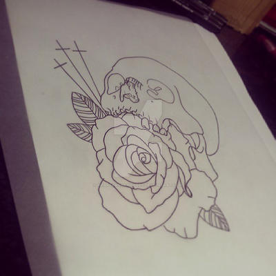 Pretty Grotesque skull and rose tattoo design by heartsandanchors