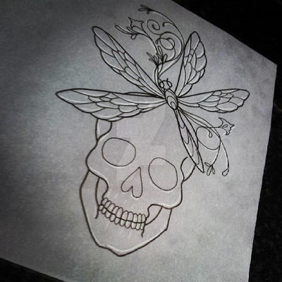 Pretty Grotesque skull and dragonfly tattoo design by heartsandanchors