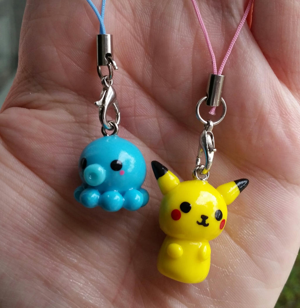 Polymer Clay Charm Bracelet: Pikachu And Octopus Polymer Clay Charms By Galaxygroove On