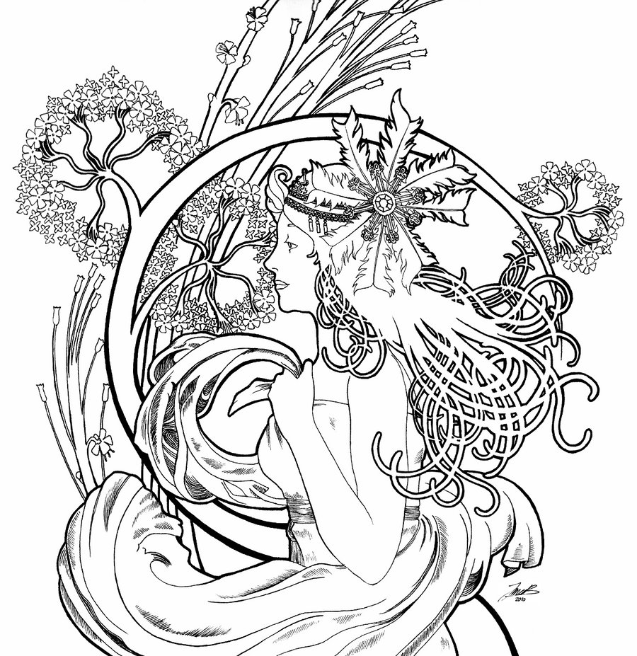 art nouveau coloring pages - photo#5