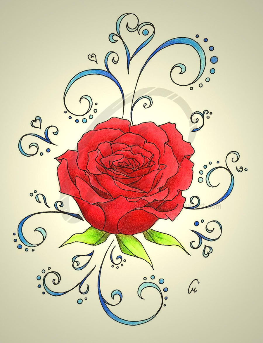 95+ Rose Flower Drawings With Color - Color Pencil Painting Flower ...