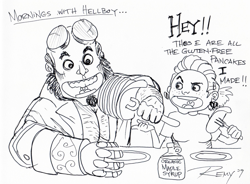 Mornings with Hellboy by Drawingremy