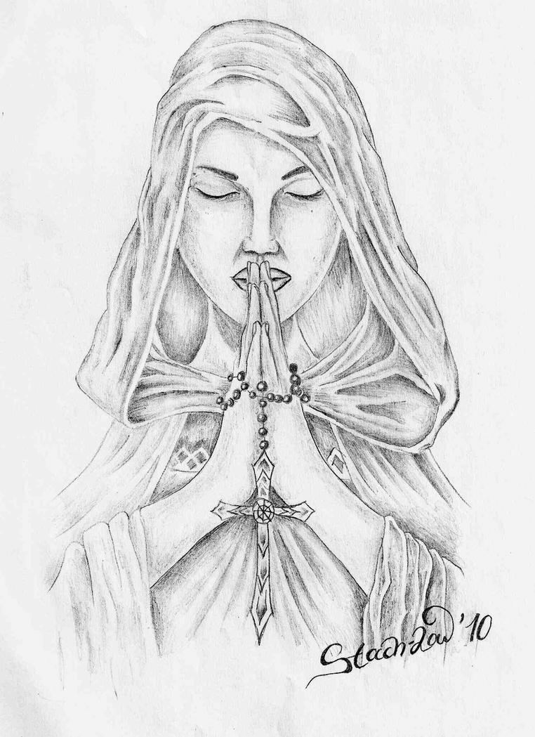 Woman Praying Drawing Praying Woman by Stach Low