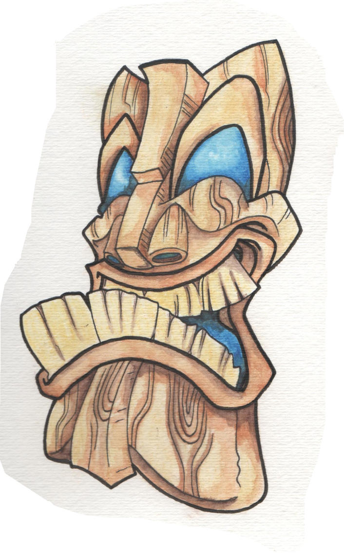 Wooden Tiki Head Drawing wood by t0rniquet on D...