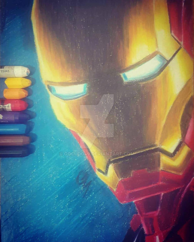 iron man (Using a reference picture) with oil past by gocudo49