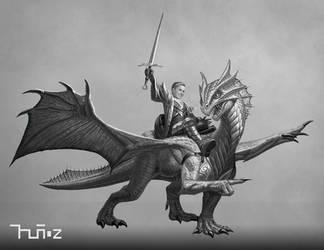 Eragon and Zelifarn (greyscale)