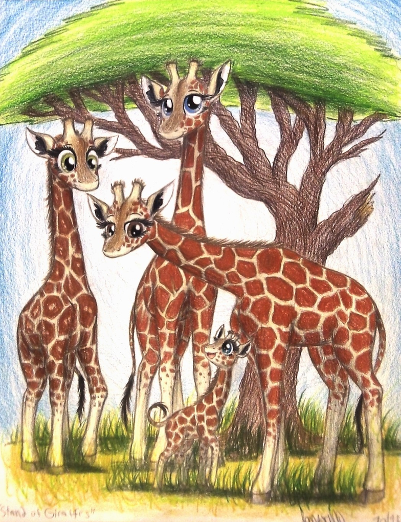 Stand of Giraffes (Commission for Zoo Employee) by TheFriendlyElephant