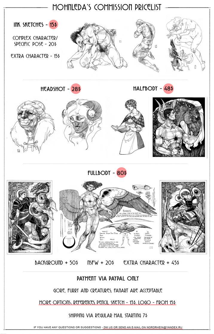 MohnLeda: Commissions Pricelist