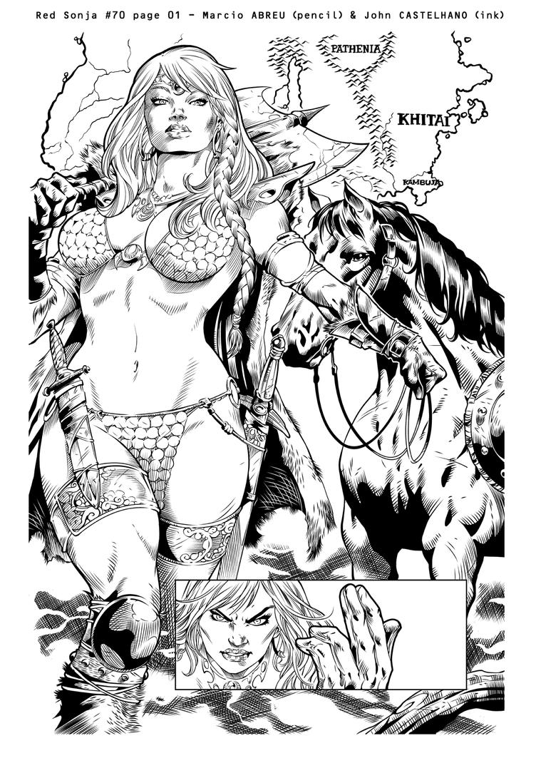 Red Sonja 70 pg 01 (ink) by johncastelhano
