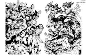 Double page Marvel vs DC (Ink) by johncastelhano