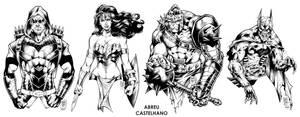 Arrow, WW, Hulk Medieval + BatZumbie (inks)