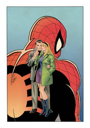 Peter Parkerand Gwen Stacy ''The Kiss''  (color) by johncastelhano