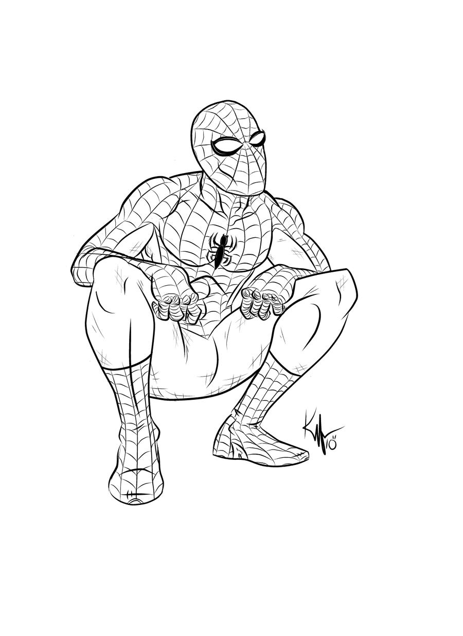 how to draw spiderman full body