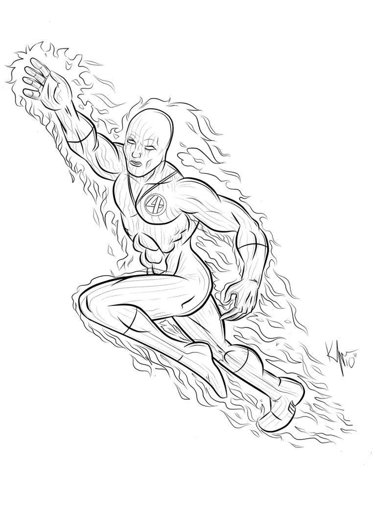human torch coloring pages - the human torch by kaufee on deviantart