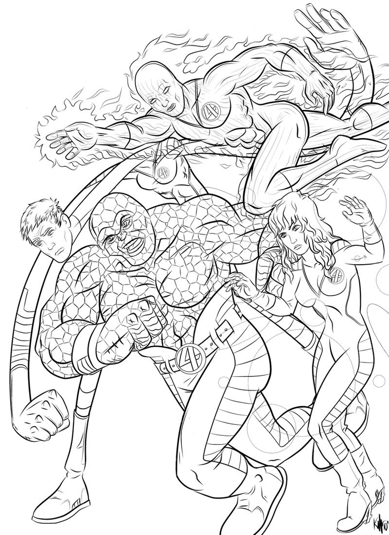 The fantastic four by kaufee on deviantart for Fantastic four coloring pages