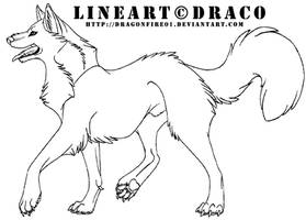 Wolf Lineart 2 by DracoFeathers