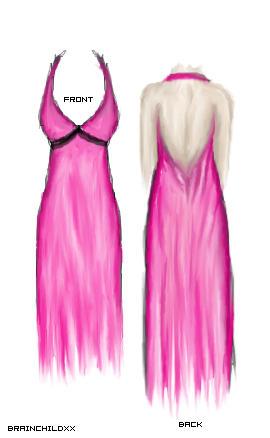 Pink Haltar Dress by brainchildxx