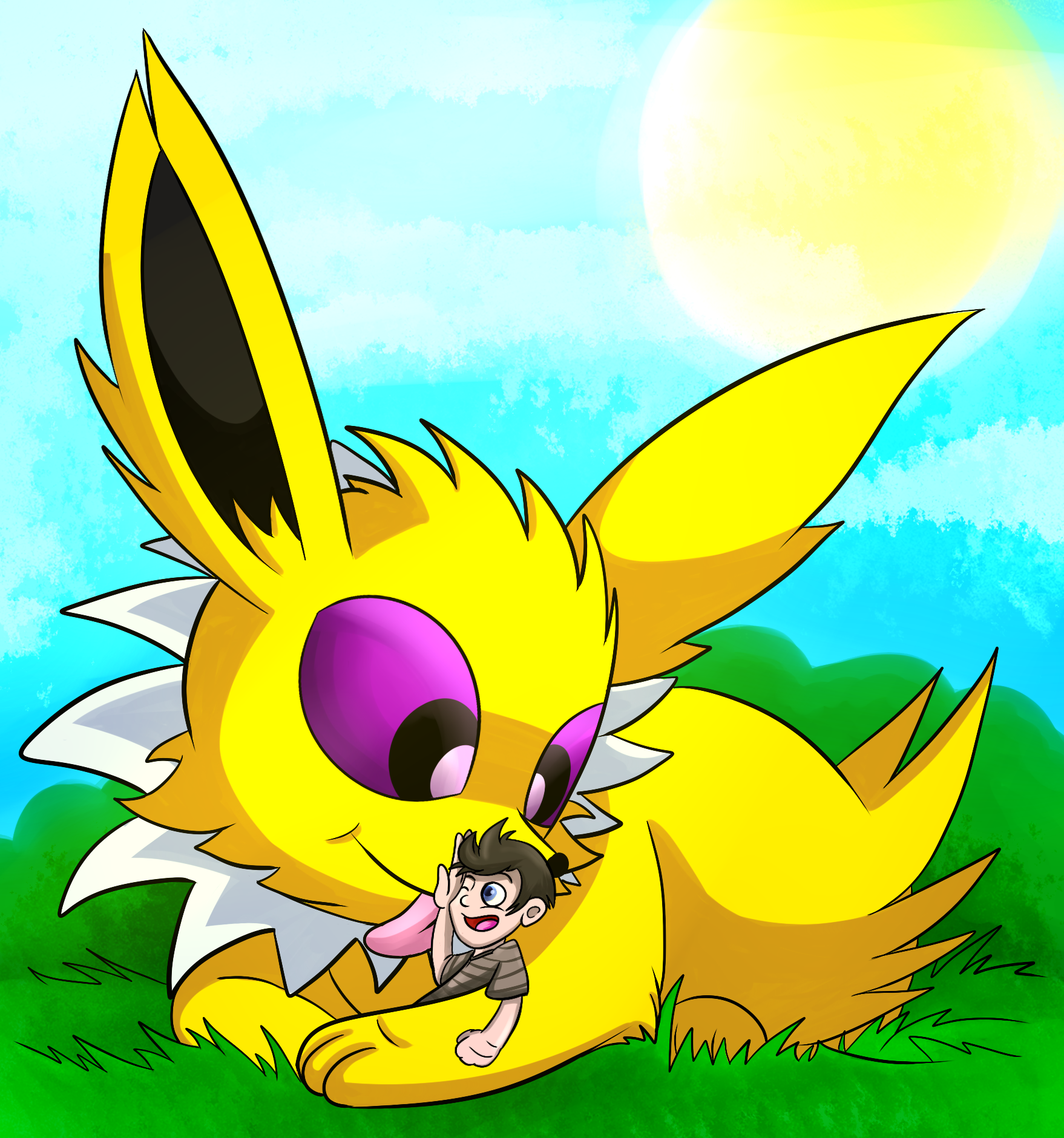 jolteon with little trainer for kodasilverwing by x