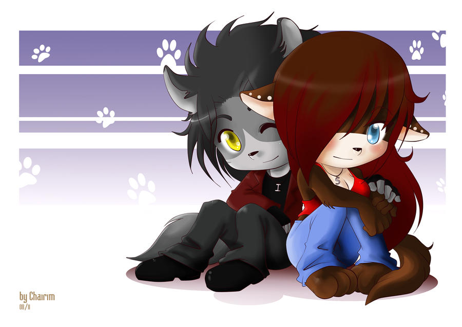 Couple Chibi Furry by wolfshadowscry