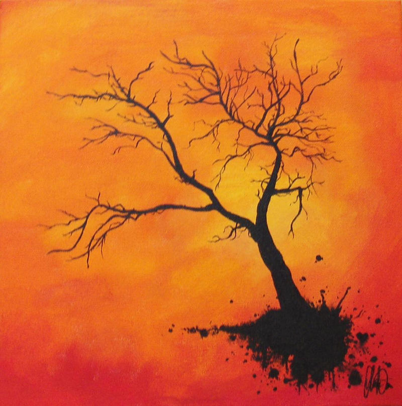 Acrylic Painting With Tree And Words As Branches