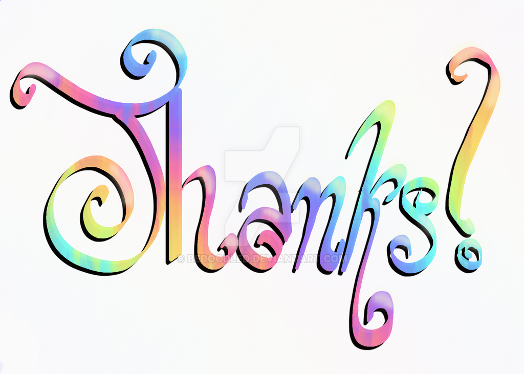 thanks rainbow lettering by bedoodled on deviantart