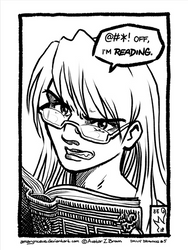 Daily drawing 0005 - @#*! Off, I'm Reading by Amarynceus