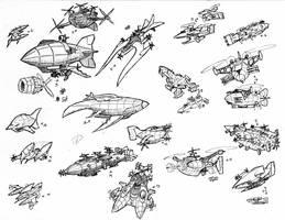 Airship Scribblies by Amarynceus