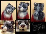 Snow leopard fursuit head.