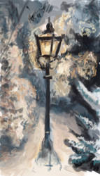 Lamppost in Snow by LasrinDync