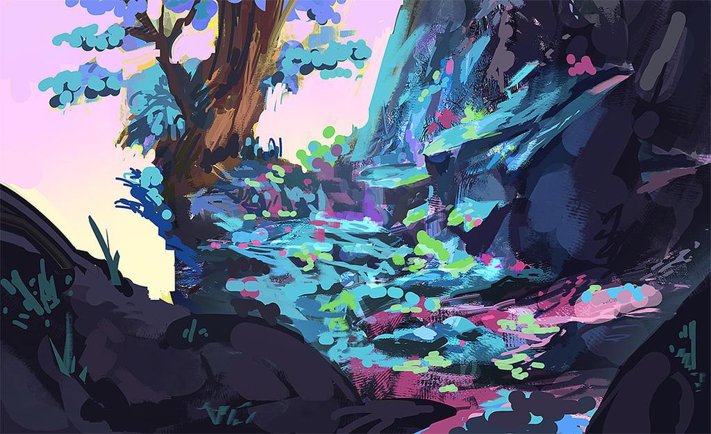 Blue-Forest Speedpaint by Mei-Xing