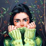 Shy blue eyed girl