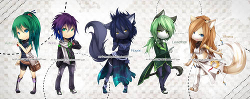 - - FiVE Chibis - - by DigiKat04