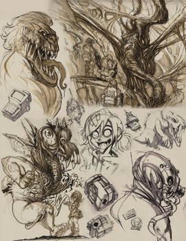 Drawings from sketchbook Knucklebreath