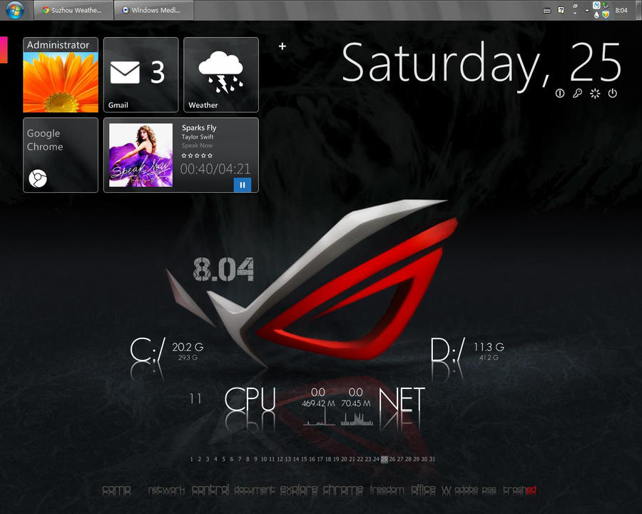 Rog rainmeter desktop on windows xp by reincairnation on for Bureau windows 7 rainmeter