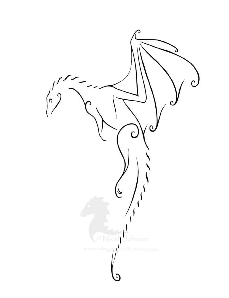 Simple Elegant Line Art : Firelizard tattoo revised by bronze dragonrider on