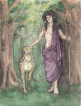 Dionysus and a leopard