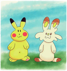 Poke-Sticker#10b Pikachu n Scorbunny (Digital) by ultima-lord
