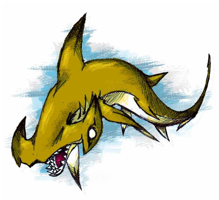 how to draw a shark head