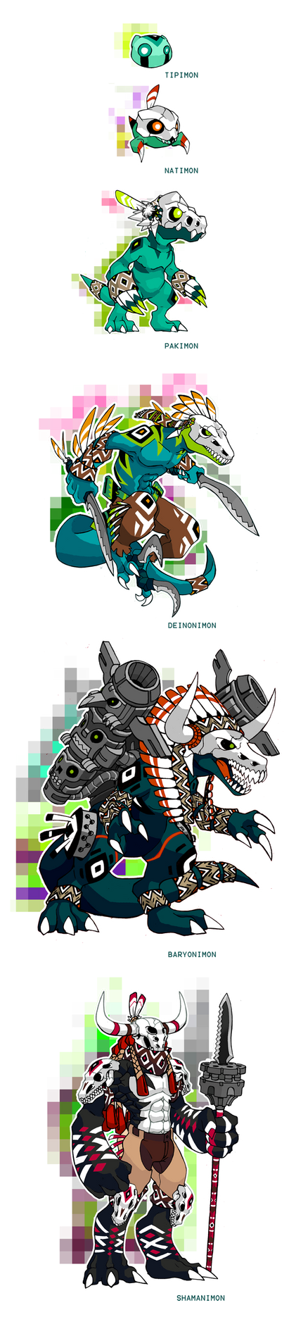 Native Fossil Digimon Line by Darksilvania
