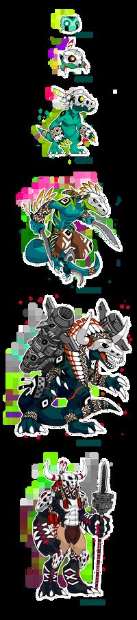Native Fossil Digimon Line