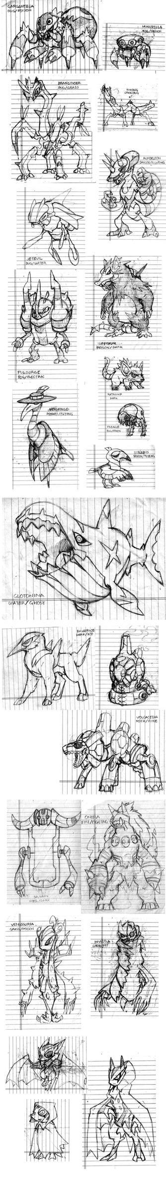 Fakemon Remake Sketchdump by Darksilvania