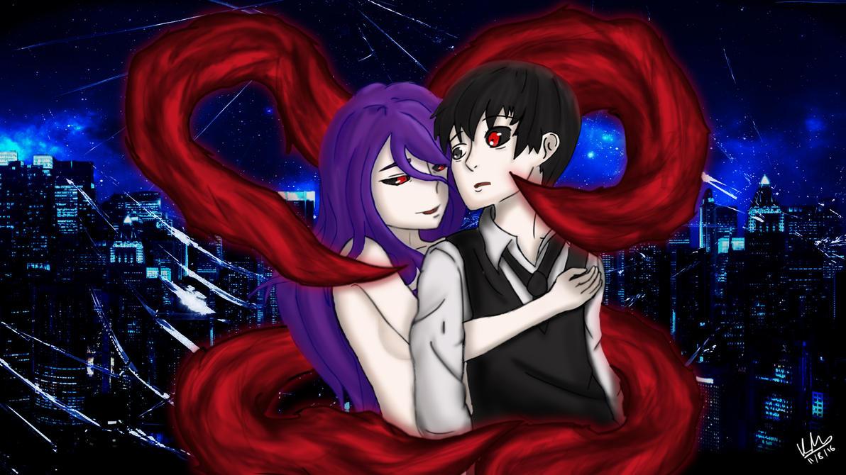 Tokyo Ghoul - Kaneki And Rize (Digital Art) by DynamiteMelon