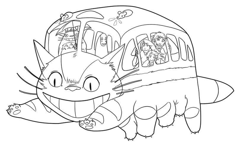 White Totoro Drawing Catbus by Trustahope800 x 501