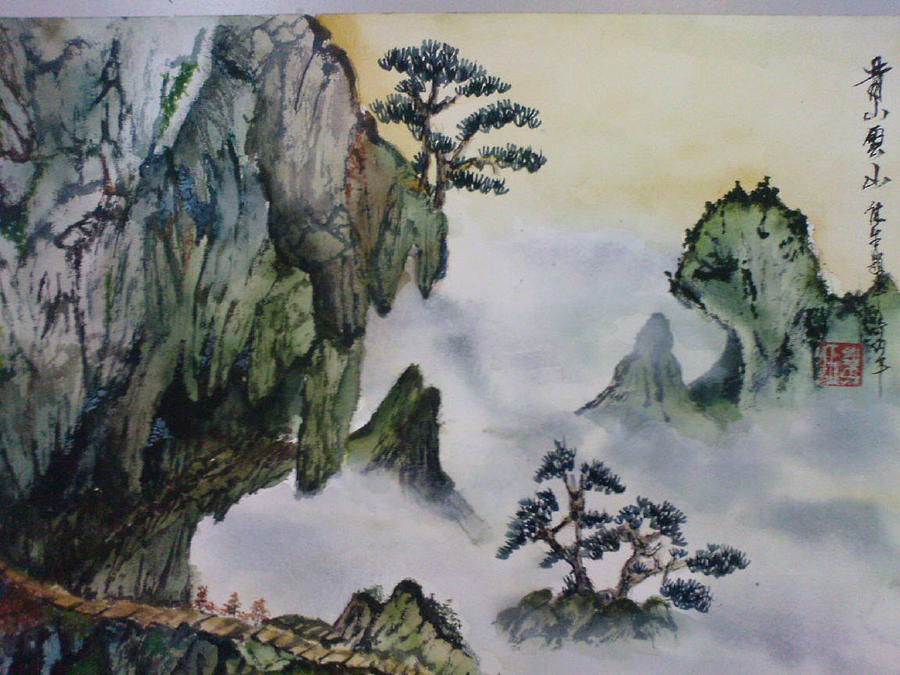 Chinese watercolor art pictures to pin on pinterest for Chinese mural art